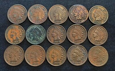 Lot of (15) Indian Head Cent Cents - Full or Near Full Liberty - Free Ship US