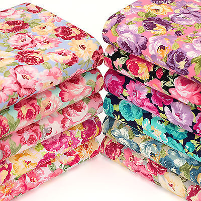 Cotton Fabric FQ Rose Floral Shabby Retro Vintage Chic Quilting Patchwork VK103