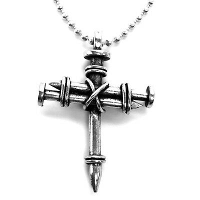 Nail Cross Necklace Pewter Silver Finish (aa9) Three Nails Wire Wrapped Cross
