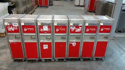 Original Air Berlin Halfsize Trolley, Rot inkl. 7 x Alu-Einschübe + Goodies !