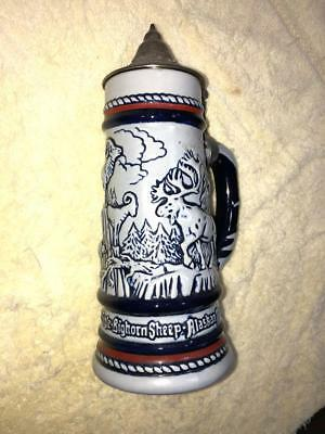 """AVON Limited Edition 9"""" Lidded Beer Stein - Big Horn Sheep - Note ISSUES"""