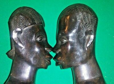 Pair of African Hand Carved Wood Tribal Statues.  Man and Woman Figures 1940's?