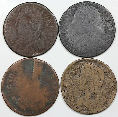 Lot of 4 different die varieties of 1787 Connecticut Coppers, lower grades