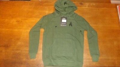 New Men/'s Aces Couture Pale Grey Cotton Pullover Hoodie Size Small £60