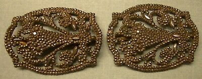 Pair of Antique French Scarf Clips-Dark Front W/Sparkles-Gold Color Back-AWESOME