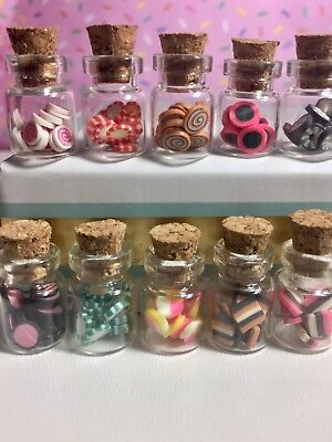 10 Dollhouse Miniature Glass Jars Filled with Candy for 1:6 1:12 Faux Doll Food