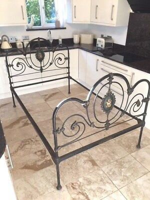 Antique Victorian Painted Black Iron 'Small Double' Bed