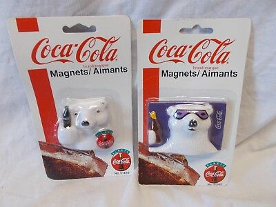 Coca-Cola Polar Bear Magnets - Set Of Two - New - Dated 1995