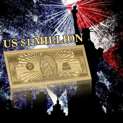 WR  US $1 Million Dollar Gold Banknote Novelty Money Collector Gifts Christmas