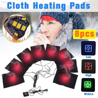 2B25 8 Pads USB Soft Cushion Winter Men Vest Heating Clothes Warmer Pads