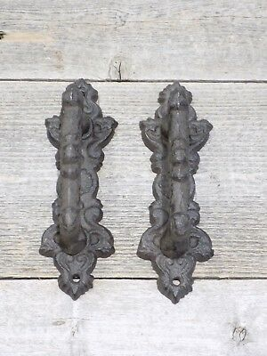 2 Handle Cast Iron Ornate Victorian Barn Door Pull Rustic Vintage Looking Drawer