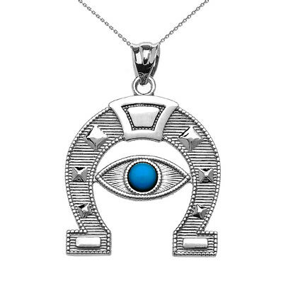 Sterling Silver Evil Eye Protection Horse Shoe Good Luck  Pendant Necklace