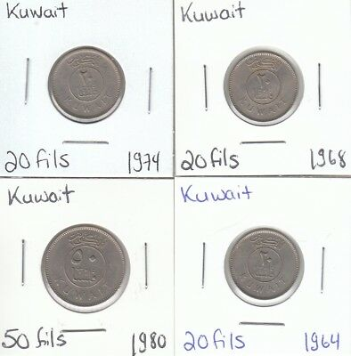 Kuwait: Lot of 4 Different Circulation Coins