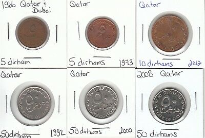 Qatar: Lot of 6 Different Circulation Coins