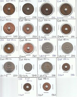 East Africa: Lot of 18 Different Circulation Coins