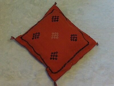 Original Handmade Kilim Retro Cushion Orange Rug Moroccan Vintage