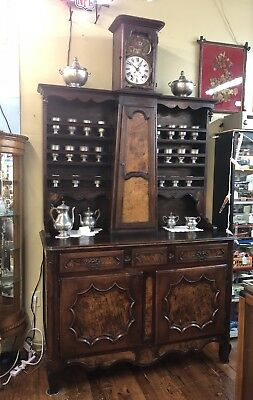 Late 1700's - Early 1800's Country French Vaisselier Buffet w/Long Case Clock