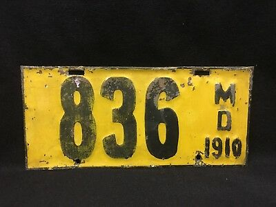 Vintage Antique License Plate Maryland 1910 First Issue Rare Original Historic