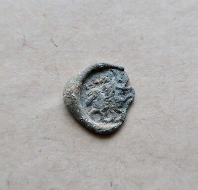 Rare early byzantine lead seal. Jesus Christ or a Saint riding a horse.Nice item