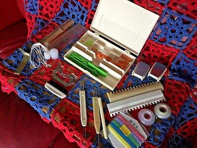 Knitting machine tools, large collection, transfer tools, needles, & box