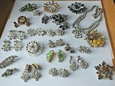 Antique to Vintage HUGE INTACT RHinestone Lot all wear now stunning. LOOK