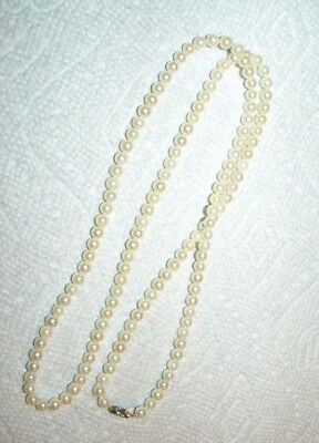 """Antique Vintage 5Mm Akoya Saltwater  Pearl Necklace Diamond 14Kt Wg Clasp 29"""""""