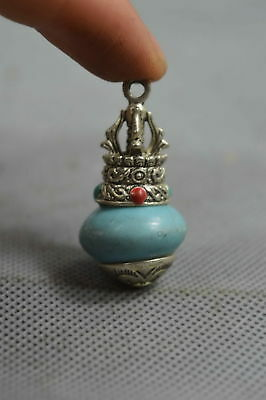 Collectable Chinese Miao Silver Carve Totem Inlay Turquoise Exorcism Pendant