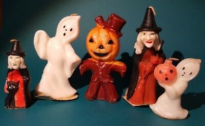 Vintage lot of 5 Halloween candles by Gurley - Witch Cat Ghost Pumpkin Scarecrow