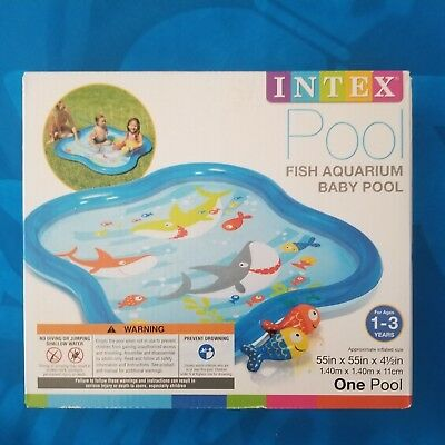 NEW! INTEX FISH AQUARIUM INFLATABLE BABY POOL (55in x 55in x 41/2in)