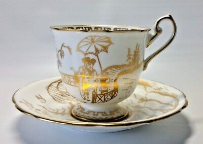Vintage Hammersley Bone China Cup & Saucer Gold Asian Motif Made in England