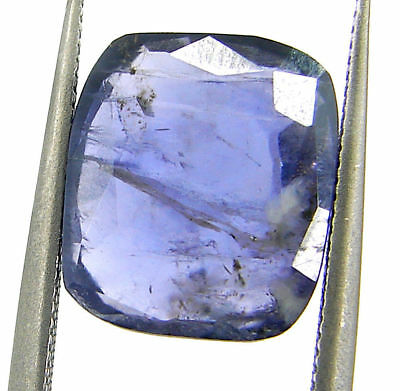 3.95 Ct Natural Blue Iolite Loose Gemstone Cushion Cut Ringsize Stone - 22763