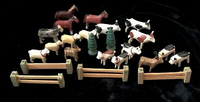 Vintage Miniature Farm Animals Hand Painted Carved Wooden Fences Horses Cows 25p