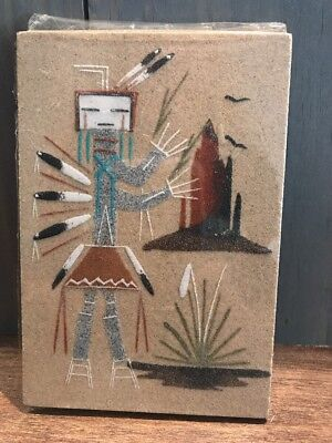 "Native American Navajo Sand Painting Signed by Artist Rita Johnson 6"" x 4"""