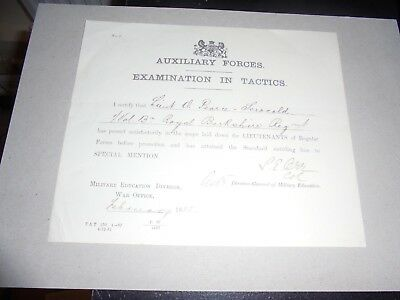1888 Auxiliary Forces Certificate, Exam in Tactics Military Education War Office