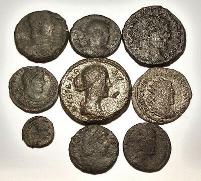 Lot of 9 Mixed Ancient Roman Coins