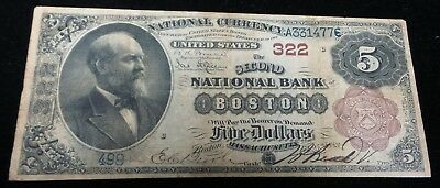 5 Dollar large size The Second National Bank Boston 322 National Currency 1883
