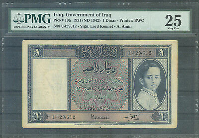 OTTOMAN   Iraq   GOVERNMENT VERY VERY  RARE  1  DINAR  1942    PMG 25