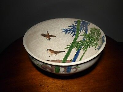 LARGE ATTRACTIVE Japanese BOWL with SPARROWS BIRDS and BAMBOO SIGNED by MAKER
