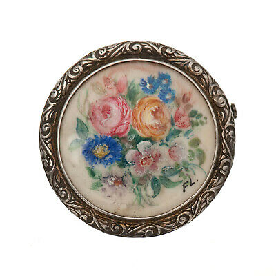 Antique Brooch Solid Silver Painting Miniature bunch of flowers to 1900