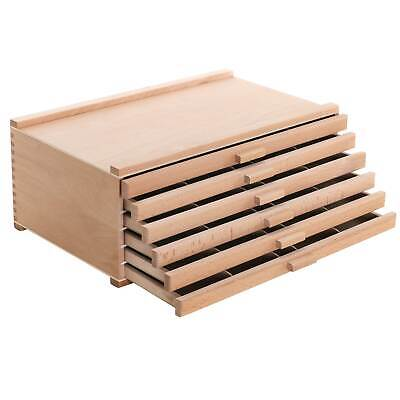 6 Drawer Wood Artist Supply Storage Box for Pastels, Pencils, Pens, Markers