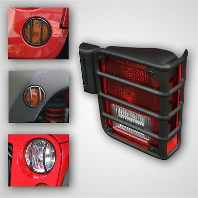 8 Piece Euro Guard Light Kit, Black; 07-16 Jeep Wrangler JK