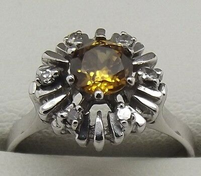 Solid 18Ct White Gold Natural Diamond & Zircon Engagement/dress Ring Value $1595