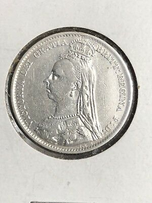 1890 Great Britain 6 Pence Silver Foreign Coin VF