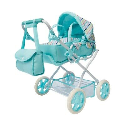 Girls Blue Doll Pram Adjustable Baby Carrier Stroller Nappy Bag Wheels Play Toy