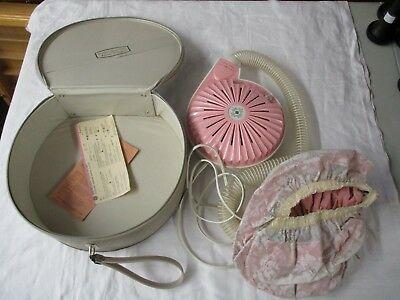VTG GE General Electric Pink Soft Bonnet Hair Dryer in Carry Case WORKING GREAT!
