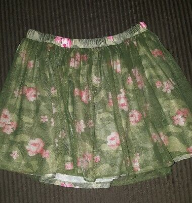 Healthtex olive floral skirt with tulle over-layer - size 5T
