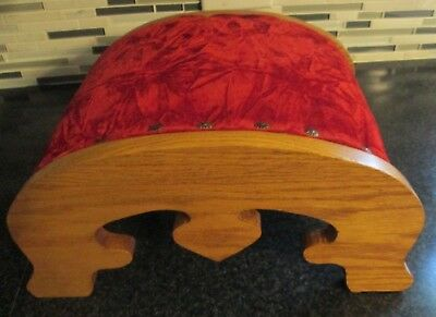 Vintage antique arched wooden footstool FOOT STOOL rest wood fabric OAK CURVED