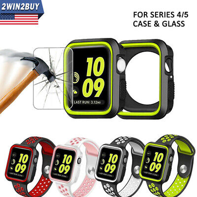Fr Apple Watch iWatch Series 4 Silicone Sport Case Cover+ Screen Protector 40/44
