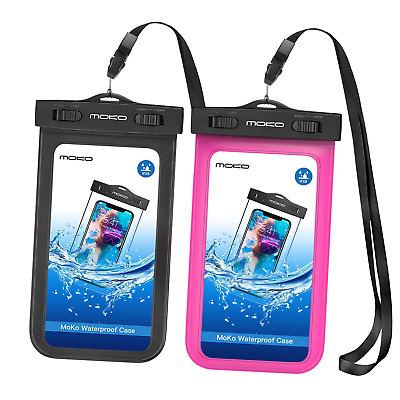 MoKo Universal Waterproof Case, [2-Pack] Cellphone Dry Bag Pouch with Armband S9