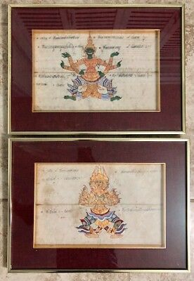 Pair of Antique or Vintage Buddhist Thai Illuminated manuscript art Paintings
